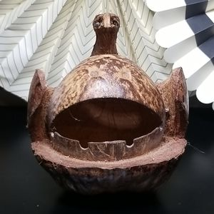 Vintage 60's 70's Tiki Bar Coconut Sloth Ashtray
